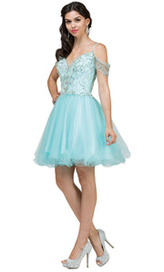 Dancing Queen - 2023 Beaded Bodice Cold Shoulder Cocktail Dress In Blue
