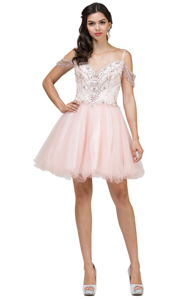 Dancing Queen - 2023 Beaded Bodice Cold Shoulder Cocktail Dress In Pink