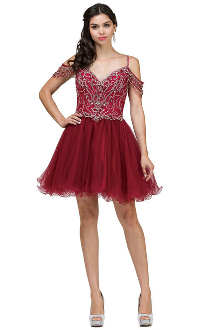 Dancing Queen - 2023 Beaded Bodice Cold Shoulder Cocktail Dress In Burgundy