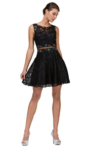 Dancing Queen - 2053 Sleeveless Beaded Lace A-Line Dress In Black