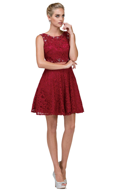 Dancing Queen - 2053 Sleeveless Beaded Lace A-Line Dress In Red