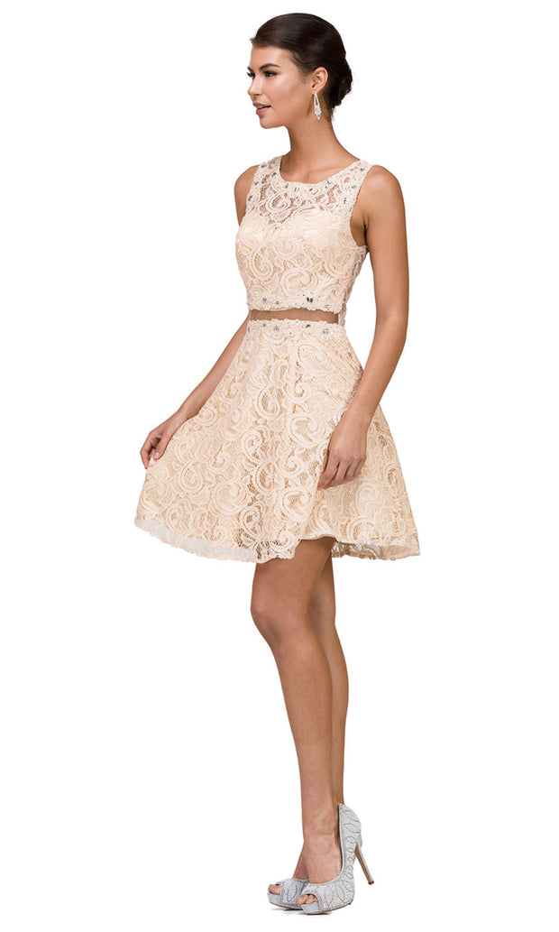 Dancing Queen - 2053 Sleeveless Beaded Lace A-Line Dress In Champagne & Gold