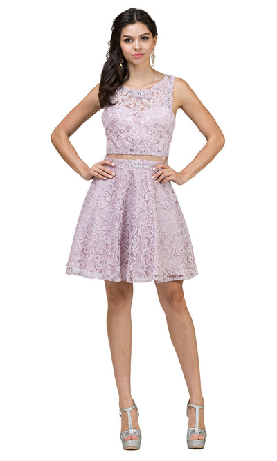 Dancing Queen - 2053 Sleeveless Beaded Lace A-Line Dress In Pink