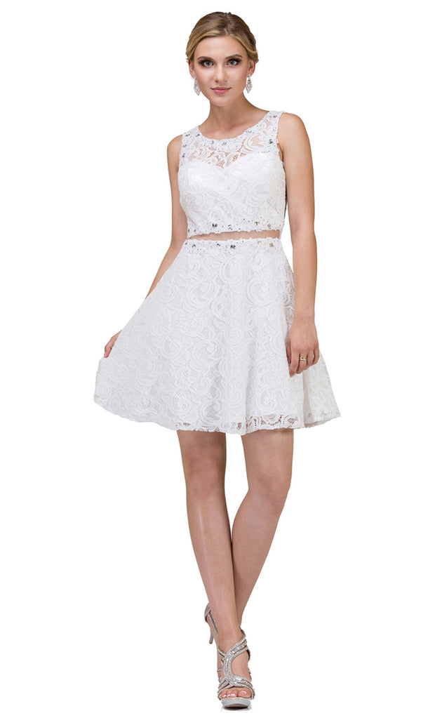Dancing Queen - 2053 Sleeveless Beaded Lace A-Line Dress In White & Ivory