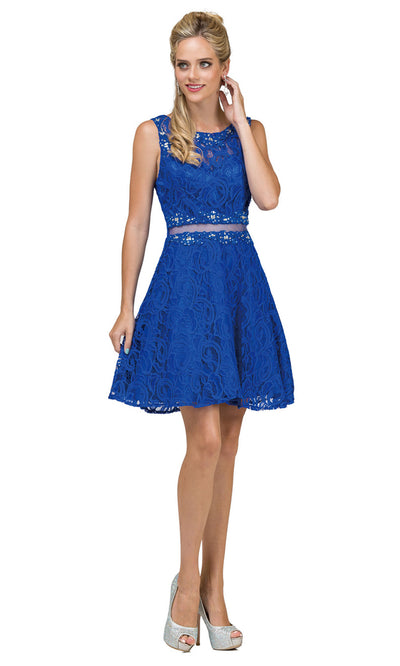 Dancing Queen - 2053 Sleeveless Beaded Lace A-Line Dress In Blue