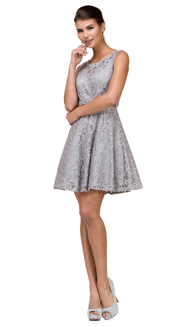 Dancing Queen - 2053 Sleeveless Beaded Lace A-Line Dress In Silver & Gray