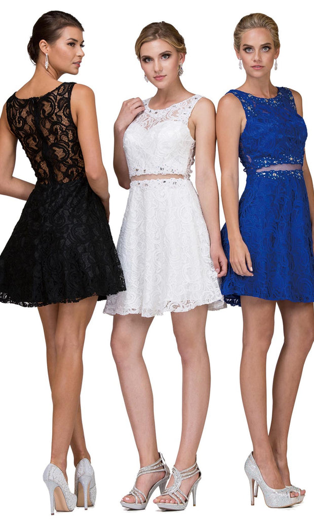 Dancing Queen - 2053 Sleeveless Beaded Lace A-Line Dress In Black  and White and Blue