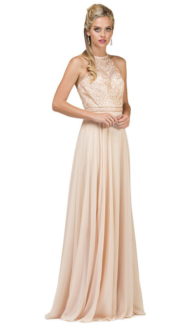 Dancing Queen - 2092 Embroidered Halter Neck A-Line Dress In Neutral