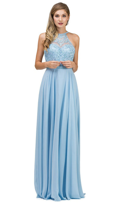 Dancing Queen - 2092 Embroidered Halter Neck A-Line Dress In Blue