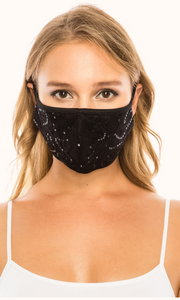 Black Simple Lace Mask with sequins
