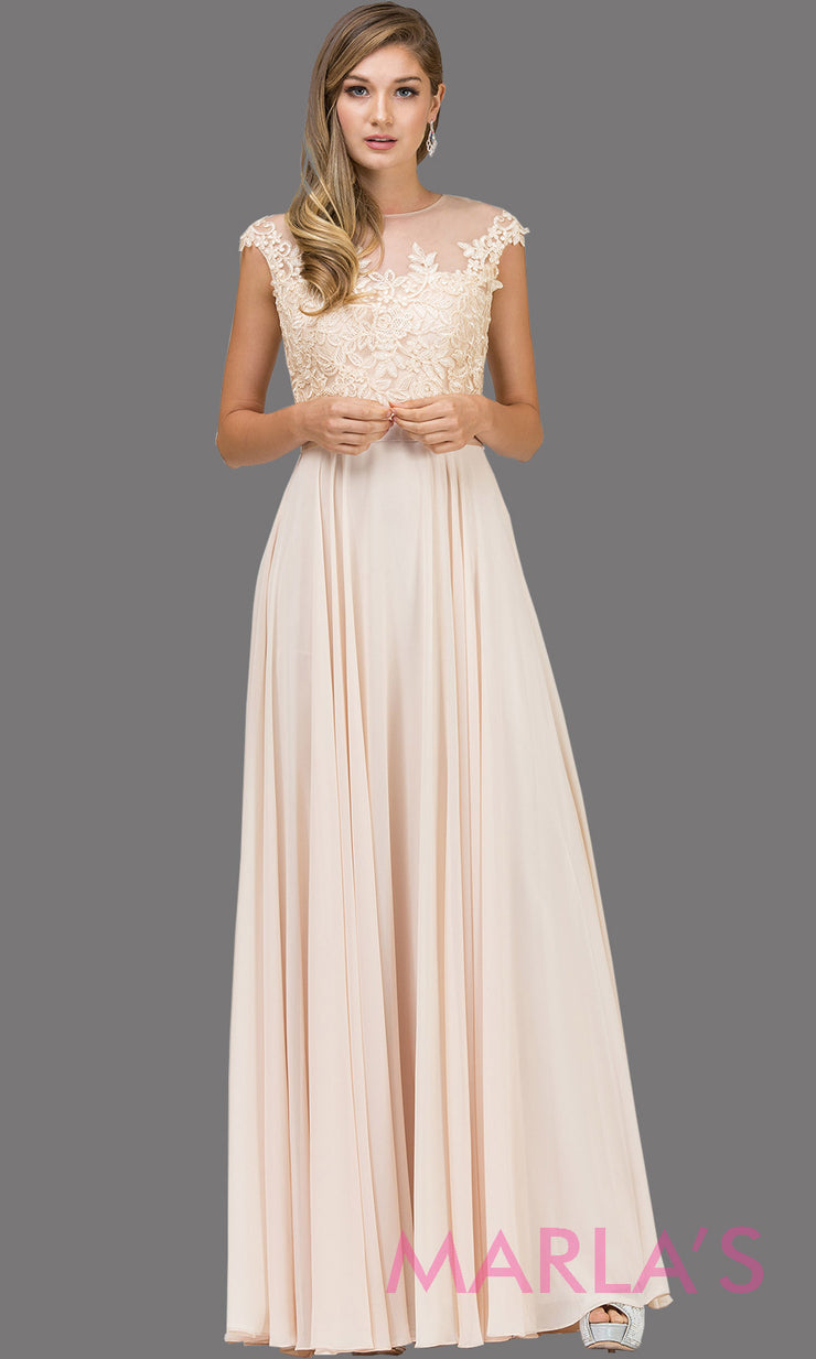 Long champagne gold high neck flowy dress with lace top & satin belt. This floor length light gold gown is perfect as a bridesmaid dress, prom dress, modest wedding guest dress, mother of bride dress, indowestern party dress. Plus sizes avail.