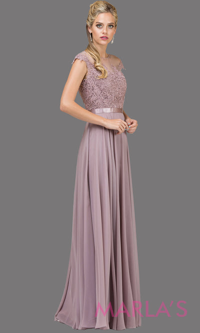 Long mocha brown high neck flowy dress with lace top & satin belt. This floor length purple brown gown is perfect as a bridesmaid dress, prom dress, modest wedding guest dress, mother of bride dress, indowestern party dress. Plus sizes avail.