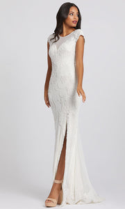 Mac Duggal - 2127A Sequin Embroidered High Slit Dress In White