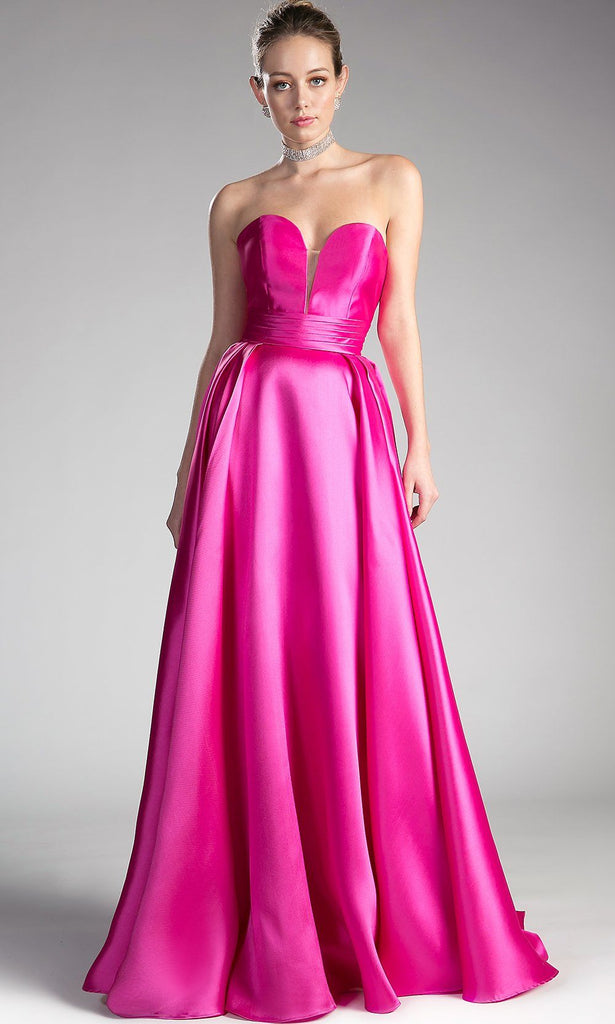 long strapless simple flowy fuchsia satin ballgown dresss. This bright pink formal evening a-line gown is perfect for bridesmaid dresses,prom dress,formal party,gala,engagment shoot.Plus size ball gown dress is available.