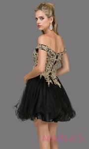 2130.4-B-Short off shoulder black puffy grade 8 grad dress with gold lace. This black graduation dress is perfect for quinceanera damas, bat mitzvah, sweet 15, sweet 16 birthday. Plus sizes avail