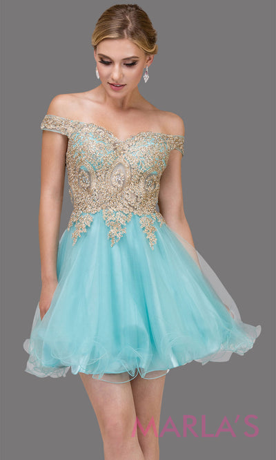 2130.4-Short off shoulder aqua blue puffy grade 8 grad dress with gold lace. This light blue graduation dress is perfect for quinceanera damas, bat mitzvah, sweet 15, sweet 16 birthday. Plus sizes avail