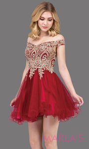 2130.4-Short off shoulder burgundy red puffy grade 8 grad dress with gold lace. This dark red graduation dress is perfect for quinceanera damas, bat mitzvah, sweet 15, sweet 16 birthday. Plus sizes avail