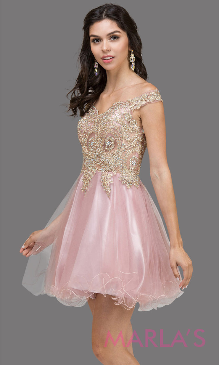 2130.4-Short off shoulder dusty pink puffy grade 8 grad dress with gold lace. This light pink graduation dress is perfect for quinceanera damas, bat mitzvah, sweet 15, sweet 16 birthday. Plus sizes avail