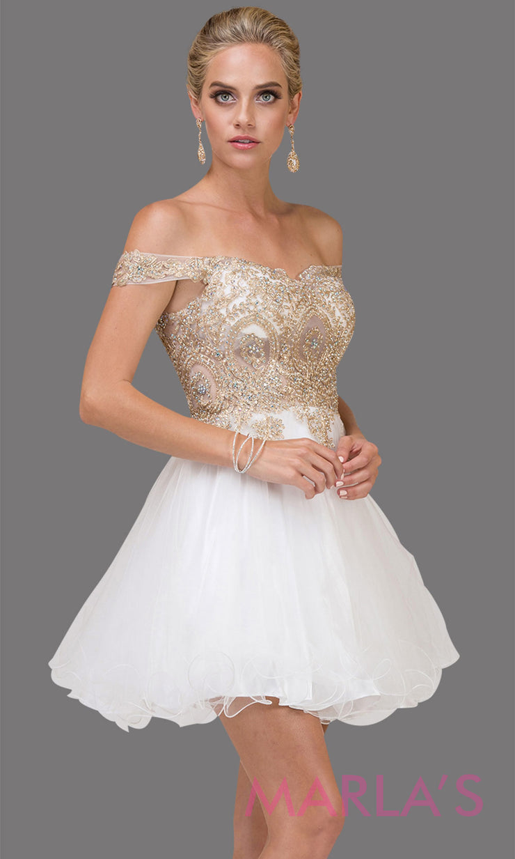 2130.4-Short off shoulder white puffy grade 8 grad dress with gold lace. This white graduation dress is perfect for quinceanera damas, bat mitzvah, sweet 15, sweet 16 birthday, wedding. Plus sizes avail