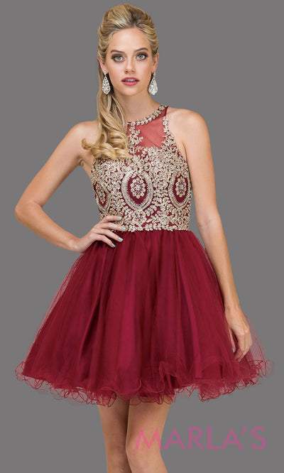 2156.4-Short high neck puffy burgundy red grade 8 grad dress with gold lace. This dark red graduation dress is perfect for quinceanera damas, bat mitzvah, sweet 16 birthday, sweet 15 party.Plus sizes avail