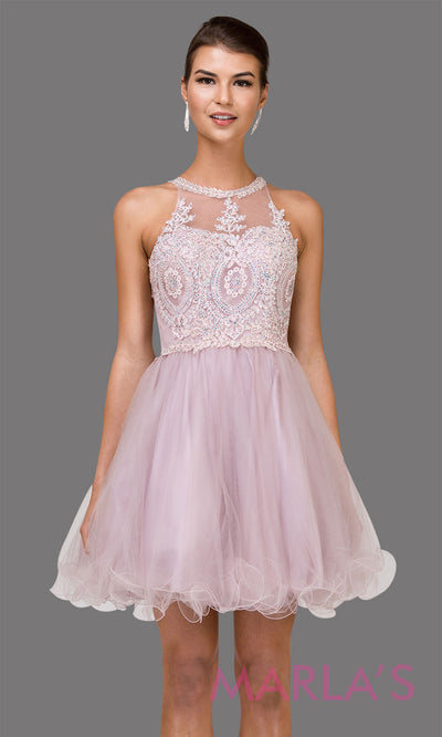 2156.4-Short high neck puffy dusty pink grade 8 grad dress with gold lace. This light pink graduation dress is perfect for quinceanera damas, bat mitzvah, sweet 16 birthday, sweet 15 party.Plus sizes avail
