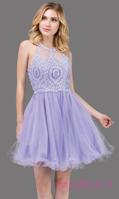 2156.4-Short high neck puffy lilac grade 8 grad dress with gold lace. This light purple graduation dress is perfect for quinceanera damas, bat mitzvah, sweet 16 birthday, sweet 15 party.Plus sizes avail