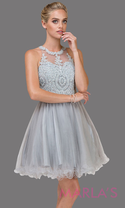 2156.4-Short high neck puffy silver gray grade 8 grad dress with gold lace. This light grey graduation dress is perfect for quinceanera damas,bat mitzvah, sweet 16 birthday, sweet 15 party.Plus sizes avail