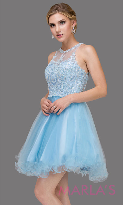 2156.4-Short high neck puffy sky blue grade 8 grad dress with gold lace. This light blue graduation dress is perfect for quinceanera damas, bat mitzvah, sweet 16 birthday, sweet 15 party.Plus sizes avail