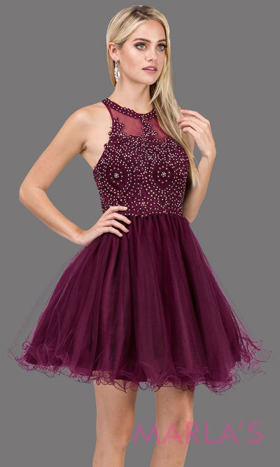 2156.4-Short high neck puffy wine grade 8 grad dress with gold lace. This dark purple graduation dress is perfect for quinceanera damas, bat mitzvah, sweet 16 birthday, sweet 15 party.Plus sizes avail