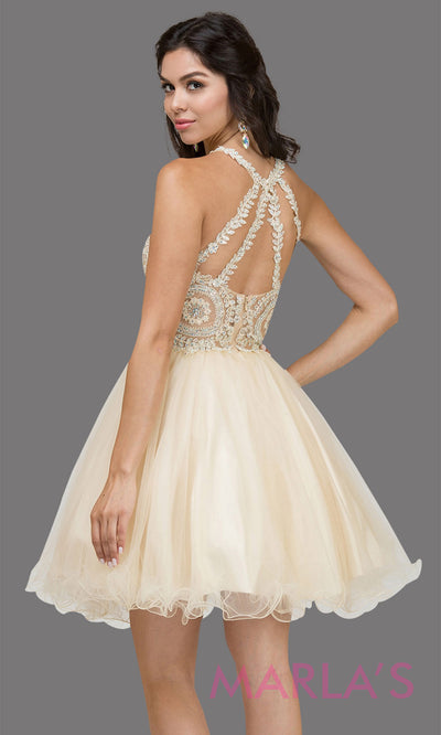 2156.4BShort high neck puffy champagne grade 8 grad dress with gold lace. This light gold graduation dress is perfect for quinceanera damas, bat mitzvah, sweet 16 birthday, sweet 15 party.Plus sizes avail