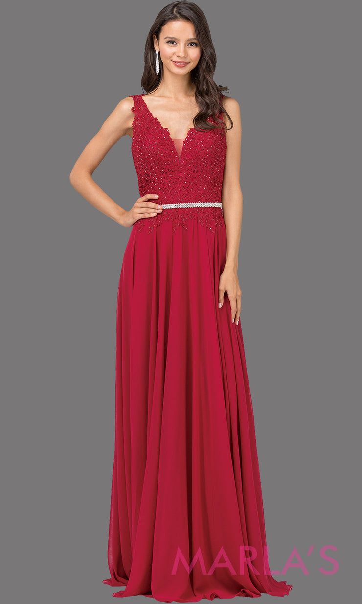 Long burgundy red dress with wide straps, v neck front, and lace top. This dark red floor length gown is perfect as a prom dress, flowy bridemsaid dress, modest wedding guest dress, mother of the bride, indowestern party dress. Plus sizes avail.
