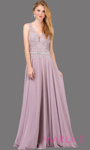 Long mocha brown dress with wide straps, v neck front, and lace top. This light mauve floor length gown is perfect as a prom dress, flowy bridemsaid dress, modest wedding guest dress, mother of the bride, indowestern party dress. Plus sizes avail.