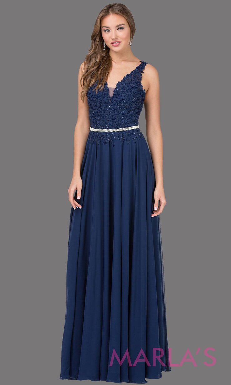 Long navy blue dress with wide straps, v neck front, and lace top. This dark blue floor length gown is perfect as a prom dress, flowy bridemsaid dress, modest wedding guest dress, mother of the bride, indowestern party dress. Plus sizes avail.