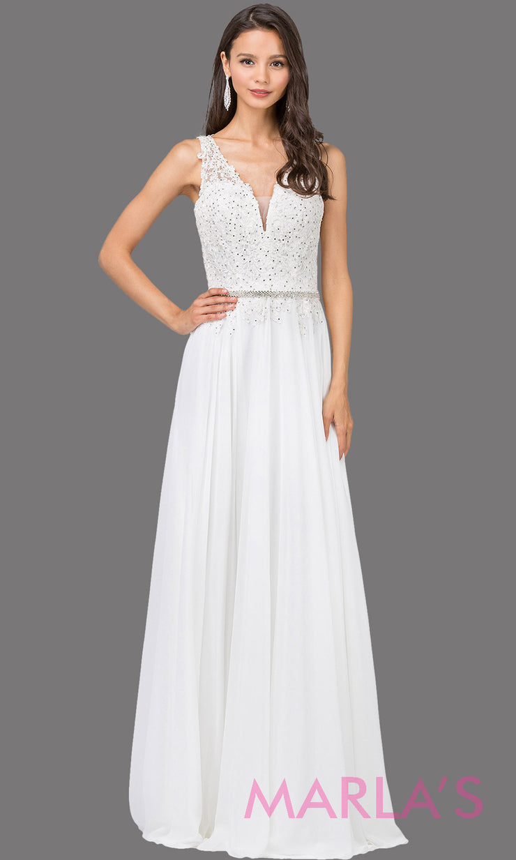 Long white simple dress with wide straps,v neck front, and lace top. This white floor length gown is perfect as a prom dress, flowy bridemsaid dress, modest wedding guest dress, cheap wedding dress, indowestern party dress. Plus sizes avail.