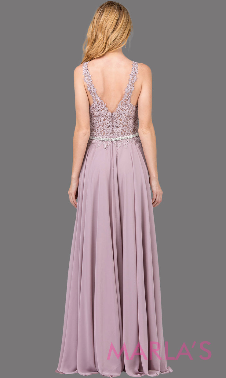 Long mocha brown dress with wide straps,v neck front, and lace top. This light mauve floor length gown is perfect as a prom dress, flowy bridemsaid dress, modest wedding guest dress, mother of the bride, indowestern party dress. Plus sizes avail.
