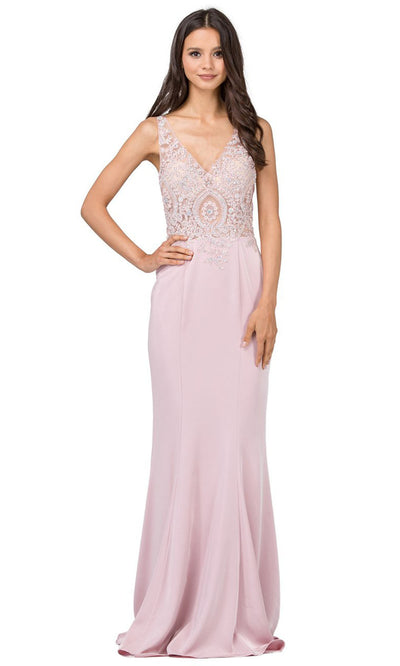 Dancing Queen - 2213 Embroidered V Neck Sheath Dress In Pink