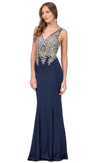 Dancing Queen - 2213 Embroidered V Neck Sheath Dress In Blue