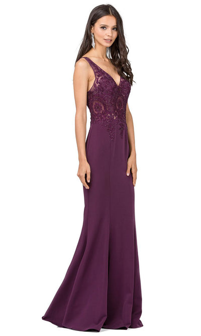 Dancing Queen - 2213 Embroidered V Neck Sheath Dress In Purple