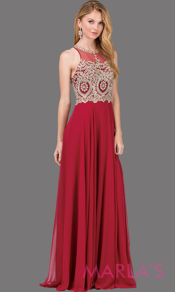 43ec75eb9b3 Long burgundy red flowy dress with high neck, gold lace, & low back.