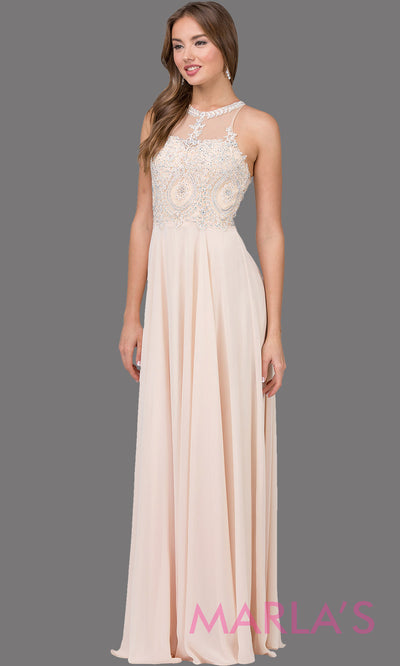 Long champagne gold flowy chiffon dress with high neck, lace, & low back. This light gold dress is perfect as a prom dress, formal wedding guest dress, modest indowestern party dress, mother of the bride dress, bridesmaid dress. Plus sizes avail.