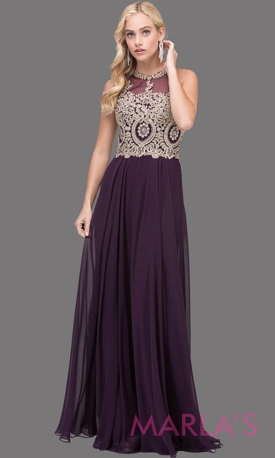 Long dark purple flowy chiffon dress with high neck,gold lace & low back.This eggplant purple dress is perfect as a prom dress, formal wedding guest dress, modest indowestern party dress,mother of the bride dress,bridesmaid dress.Plus sizes avail.