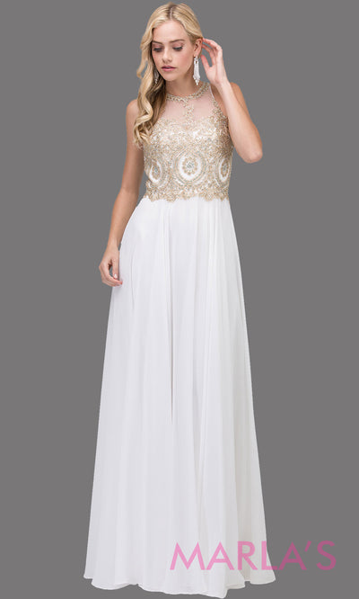 Long white flowy chiffon dress with high neck, gold lace & low back.This white dress is perfect as a prom dress, cheap wedding dress, modest indowestern party dress, white bridesmaid dress, destination wedding dress,civil wedding.Plus sizes avail.