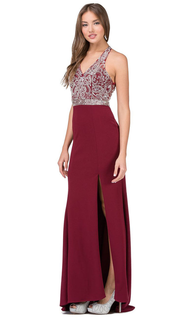 Dancing Queen - 2242 Embellished V Neck Trumpet Dress In Red