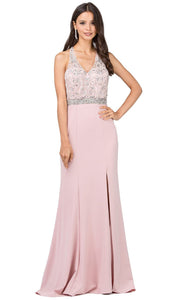 Dancing Queen - 2242 Embellished V Neck Trumpet Dress In Pink