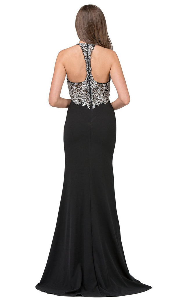 Dancing Queen - 2242 Embellished V Neck Trumpet Dress In Black