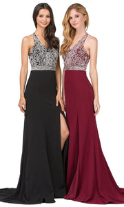 Dancing Queen - 2242 Embellished V Neck Trumpet Dress In Black and Red