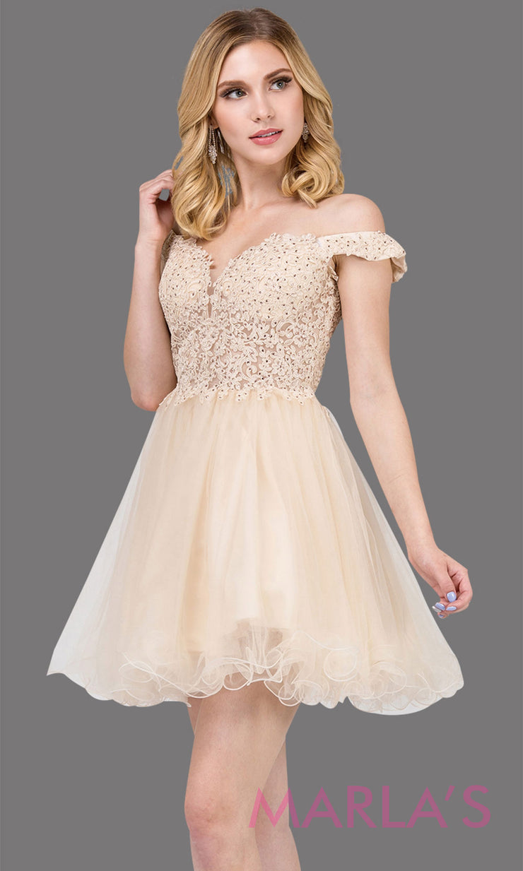 2248-Short off shoulder puffy skirt champagne grade 8 grad dress. This light gold lace graduation dress is perfect for quinceanera damas, bat mitzvah, sweet 16 birthday,sweet 15 party.Plus sizes available