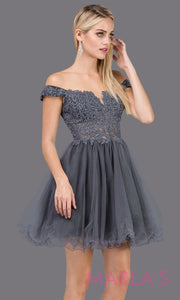 2248-Short off shoulder puffy skirt charcoal grade 8 grad dress. This dark gray lace graduation dress is perfect for quinceanera damas, bat mitzvah, sweet 16 birthday,sweet 15 party.Plus sizes available