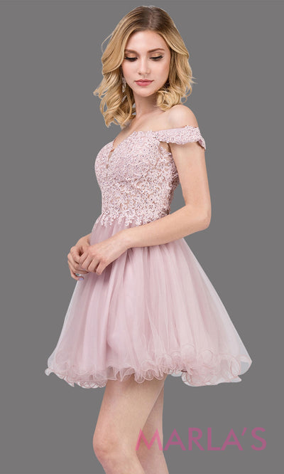 2248-Short off shoulder puffy skirt dusty pink grade 8 grad dress. This light pink lace graduation dress is perfect for quinceanera damas, bat mitzvah, sweet 16 birthday,sweet 15 party.Plus sizes available