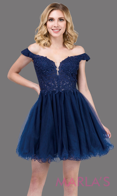 2248-Short off shoulder puffy skirt navy blue grade 8 grad dress. This dark blue lace graduation dress is perfect for quinceanera damas, bat mitzvah, sweet 16 birthday, sweet 15 party. Plus sizes available